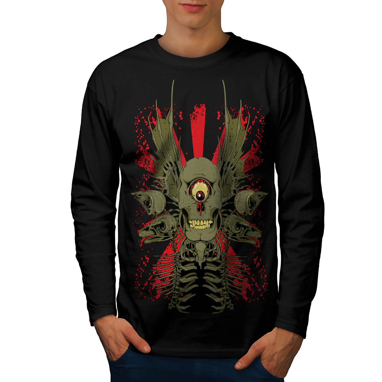 Scary Evil Cyclops Horror Skull Men Black Long Sleeve T-shirt | Wellcoda