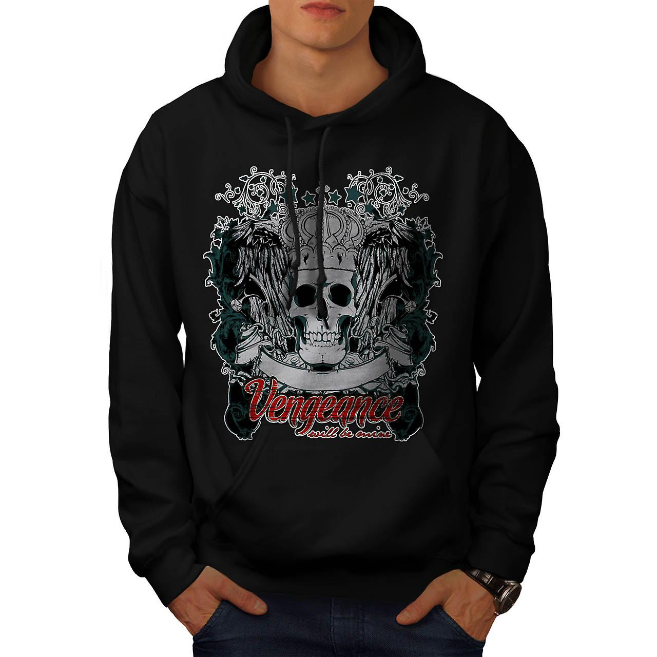 Vengeance Be Mine Skull Men Black Hoodie | Wellcoda