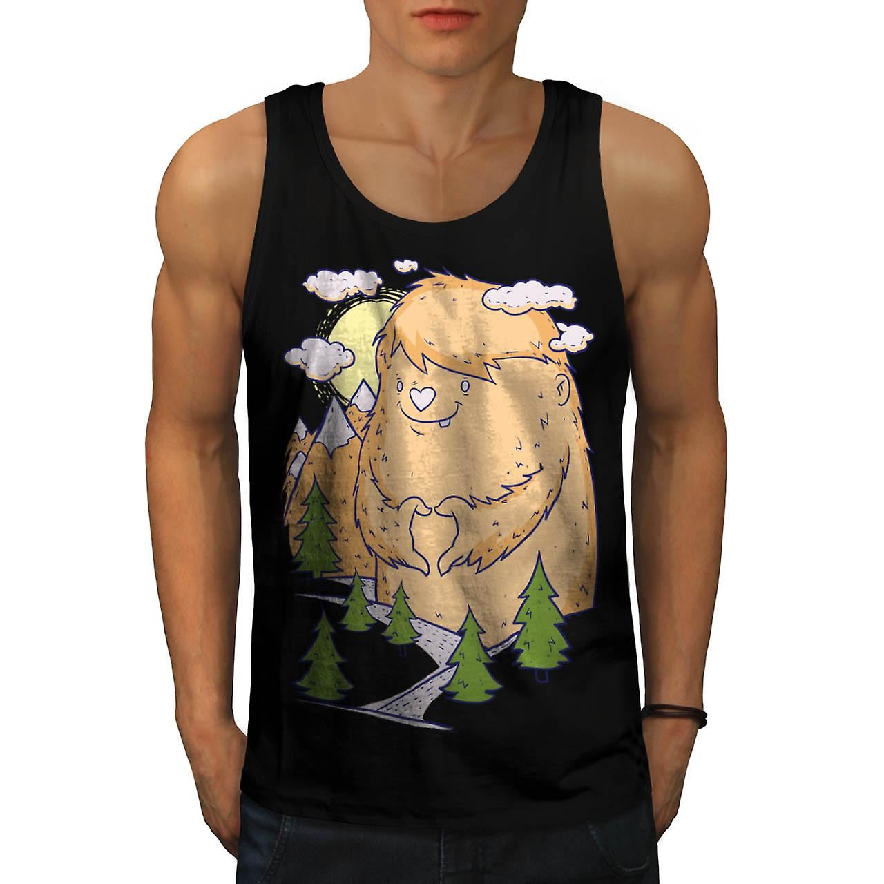 Cute Monster Hill Animal Men Black Tank Top | Wellcoda