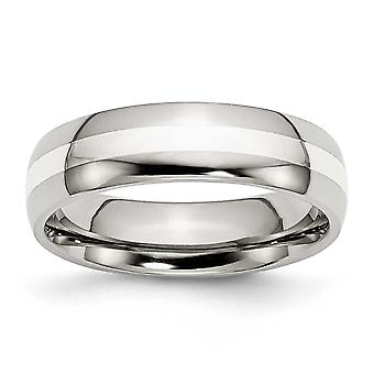 Edelstahl Sterling Silber Engravable inlay Inlay Silber 6mm poliert Bandring - Ring-Größe: 6 bis 13