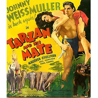 Tarzan And His Mate From Left Maureen OSullivan Johnny Weissmuller 1934 Movie Poster Masterprint
