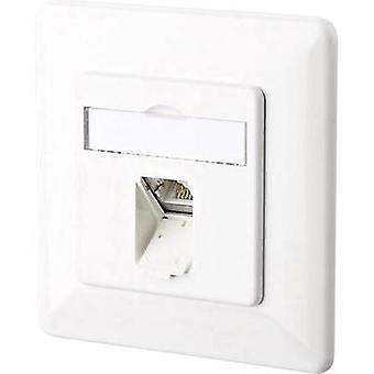 Network outlet Flush mount Insert with main panel and frame CAT 6A 1 port Metz Connect 130C371002-I Pure white