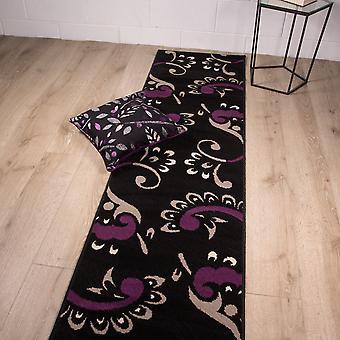 Zwarte & paars bloemen Runner tapijt