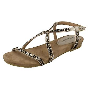 Ladies Leather Lined Collection Diamante X Strap Sandals F0979