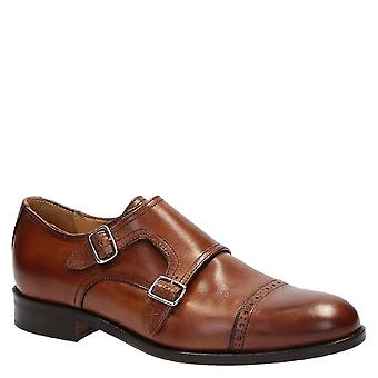 Handmade double monk strap dress shoes in brown leather
