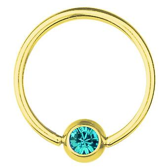 BCR Gold Plated Titanium Piercing 1,2 mm, SWAROVSKI ELEMENTS Aquamarine | 6-12 mm