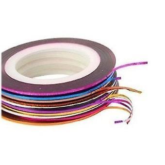 Nail Art Striping Tape Line dekoration pack af 10 ruller + 100 Lint gratis negle tørrer
