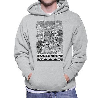 Weit draußen Mann mit Kapuze Vintage Fishing Zeichnung Herren Sweatshirt