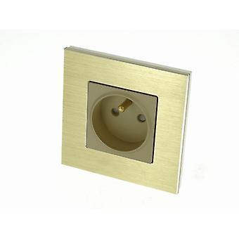 I LumoS Luxury Gold Brushed Aluminium Frame 16A French Single Socket