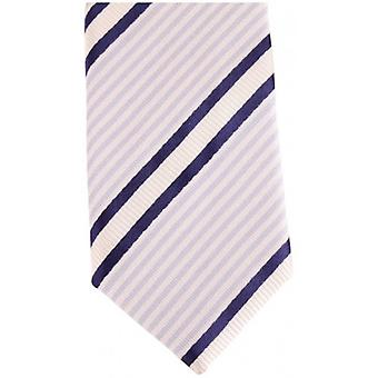 Knightsbridge Neckwear Diagonal Striped Silk Skinny Tie - Blue/White