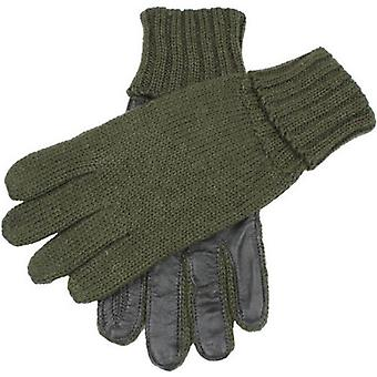 Dents Browning Knitted Shooting Leather Palm Gloves  - Olive