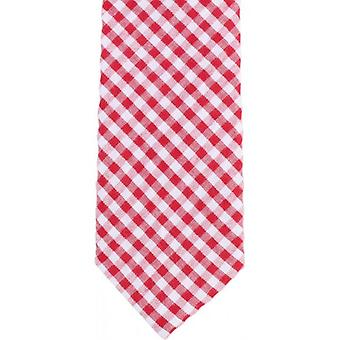 Knightsbridge Neckwear Gingham Checked Cotton Skinny Tie - Red/White