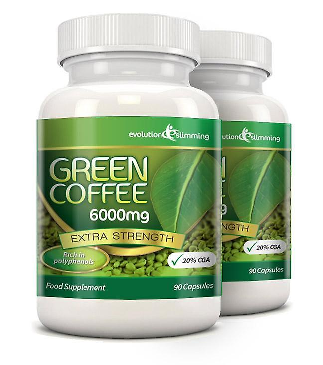 Green Coffee Bean Pure 6000mg with 20% CGA - 180 Capsules (2 Months) - Fat Burner and Antioxidant - Evolution Slimming