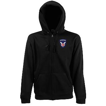 US Army 11th Airborne Angels Embroidered Logo - Zipped Hoodie Jacket