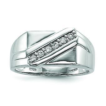 Sterling Silver polerat rodium-plated Rhodium Plated Fancy Cubic Zirconia Ring - Ring storlek: 9-11