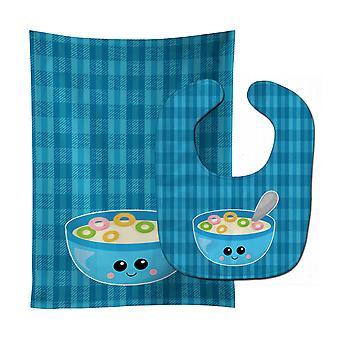 Carolines Treasures  BB6845STBU Blue bowl of Cereal Baby Bib & Burp Cloth
