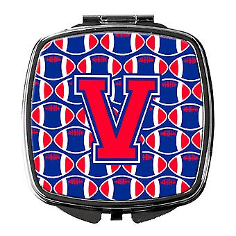 Letter V Football Harvard Crimson and Yale Blue Compact Mirror