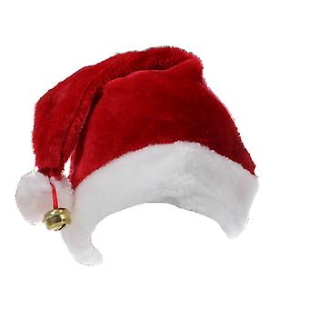Father Christmas Novelty Santa Claus Red & White Chrimbo Hat With Bell