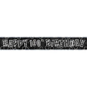 Unique Party 100th Birthday Black/Silver Glitz Foil Banner