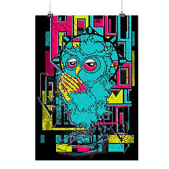 Matte or Glossy Poster with Holly Owl Funky Fashion | Wellcoda | *d946