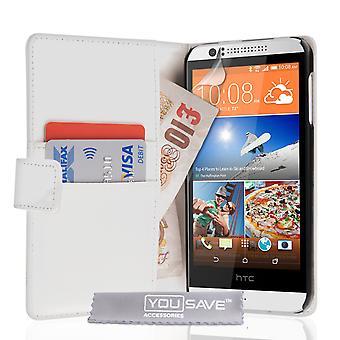 HTC Desire 510 Portfel skórzany efekt wypadku - biały