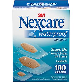 Nexcare Waterproof Bandages 100/Pkg-Assorted Sizes 432-100