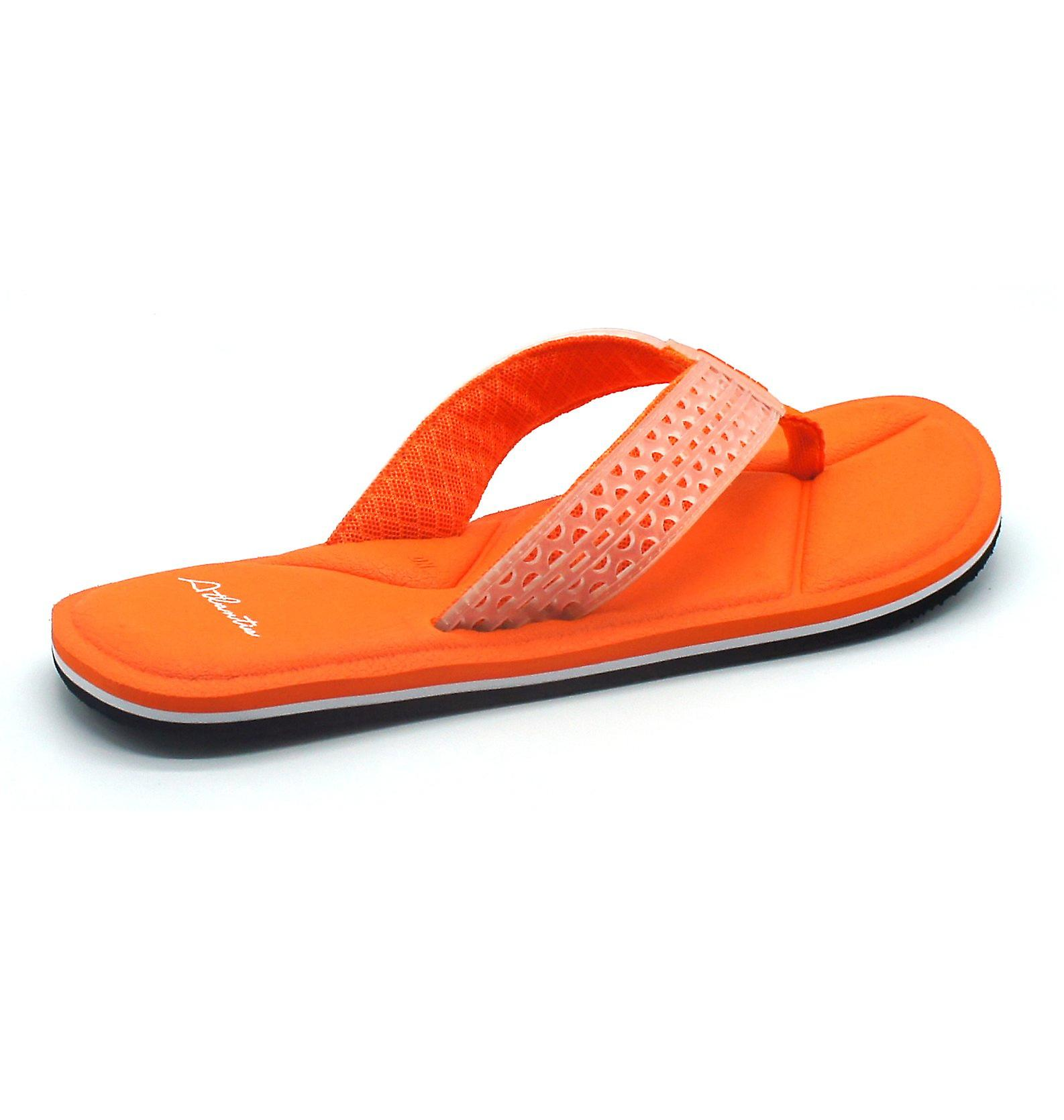 Atlantis Shoes Men Supportive Cushioned Comfortable Sandals Flip Flops Simply Colorful Orange