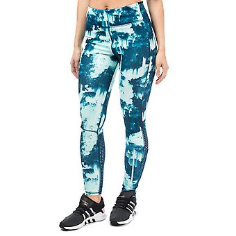 Damen Adidas Supernova Allover Print lange Strumpfhosen In Tech Stahl / Ice Green