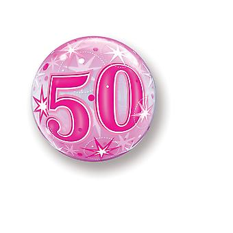 Balloon Bubbel ball number 50 birthday pink star approximately 55 cm