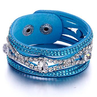 Bracelet adorned with Blue and White Crystals of Swarovski and Blue Leather