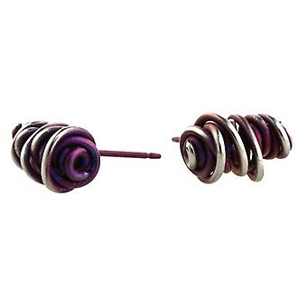 Ti2 Titanium Random Chaotic Stud Earrings - Mulberry Brown