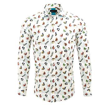 Guide London White Cotton Sateen Fruit Of The Sea Mens Shirt With A Seaweed Background