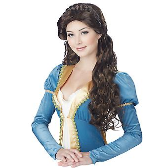 Medieval Beauty Princess Renaissance Brown Braided Women Costume Wig