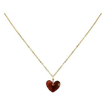 Red - 45 cm gold plated ladies - - pendant - necklace - heart-