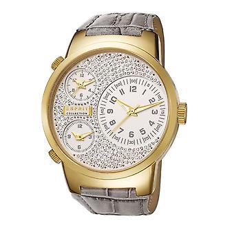 ESPRIT collection ladies watch wristwatch Polydora smoky gold leather EL190482F07