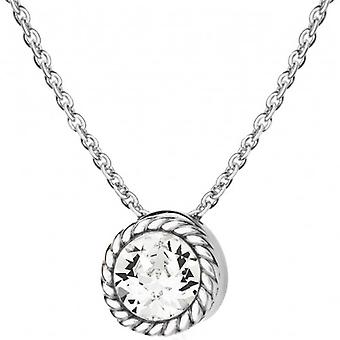 IBB London April Birthstone Swarovski Crystal Necklace - Silver/White