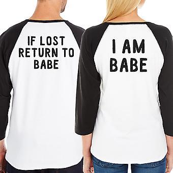 If Lost Return To Babe Funny Graphic Baseball Shirts Raglan Cotton