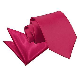Crimson Red Plain satijnen stropdas & zak plein Set