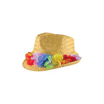 Henbrandt Straw Summer Gangster Hat With Flower Band Party Fancy Dress