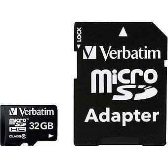 Verbatim MICRO SDHC 32GB CL 10 ADAP microSDHC card 32 GB Class 10 incl. SD adapter