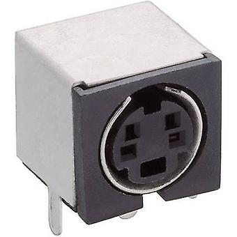 Mini DIN connector Socket, horizontal mount Number of pins: 4 Black Lumberg TM 0508 A/4 1 pc(s)