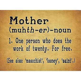 Mother Dictionary Definition Funny Small Metal Sign 200Mm X 150Mm