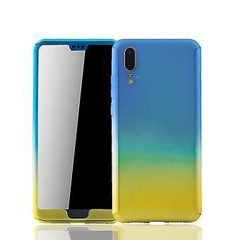 Huawei 社 P20 携帯ケース保護ケース フルカバー タンク保護ガラス ブルー/イエロー