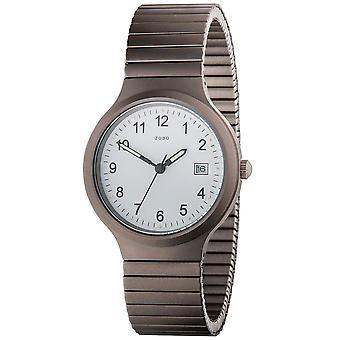 JOBO Мужские наручные часы кварцевые аналоговые титана Flex ленты Дата Часы