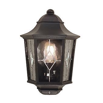 Elstead belysning Norfolk udendørs IP43 halv væg lanterne i sort