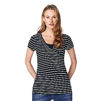 Noppies 66222-C165 Women's Lely Dark Blue Striped Maternity Short Sleeve Top