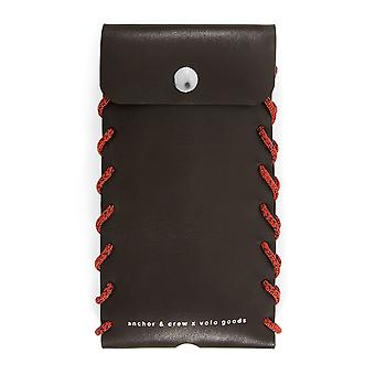 Anchor & Crew Large Deep Brown Standen Leather and Rope Phone Case