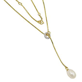 Chain - snake ketting - Y-collier - halsketting - parel - Zirkonia - 9Kt goud - 45 cm