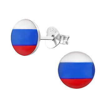 Russian Flag - 925 Sterling Silver Colourful Ear Studs