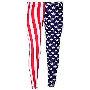 Flickor USA flaggan Union Jack stjärnor Leopard Print barnens byxor Leggings